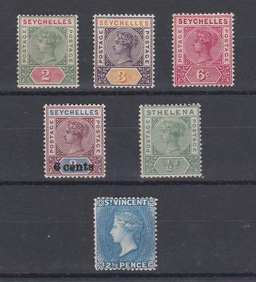 Seychelles/St Vincent mint Victoria selection. Mounted mint. Fine looking stamps