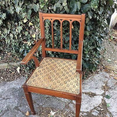 Set Of Four Antique/Vintage Carver Chairs Indian Teak Cane Seats For Restoration