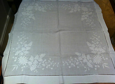"""Vintage/Antique Fine White Linen Embroidered Whitework Table Cloth 32x32.5"""""""