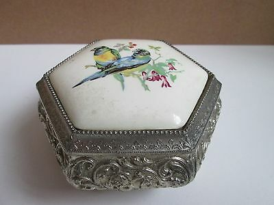 Vintage Japanese Silver Tone and Porcelain Ornate Trinket Jewellery Box Parrots