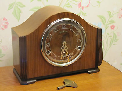 Vintage Art Deco Walnut 1930's British Bentima Westminster Chime Mantel Clock