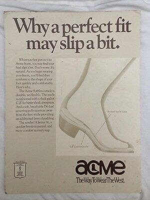 American  Acme Boot Advertising Sign Vintage Retro Classic Cowboy Western