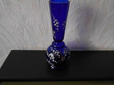 """Cobalt blue vase with hand-painted design of """"Lily of the Valley"""" flowers"""