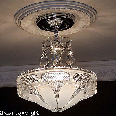 258 Vintage 40's arT Deco Ceiling Light Lamp Fixture petite chandelier blue