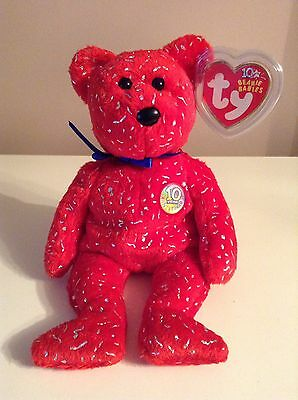 """TY Beanie Baby Celebration Red Bear """"DECADE"""" Rare And Retired"""