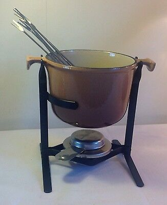 Vintage Le Creuset - Mama by Enzo Mari Beige Fondue Pot/Pan With Stand & 6 Forks