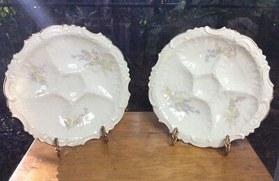 Antique Pair of Victorian German Oyster Plates Circa 1930 with Gold Trim
