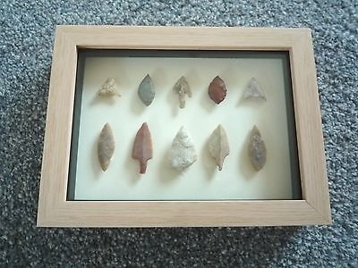 Neolithic Arrowheads in 3D Picture Frame, Authentic Artifacts 4000BC (0791)