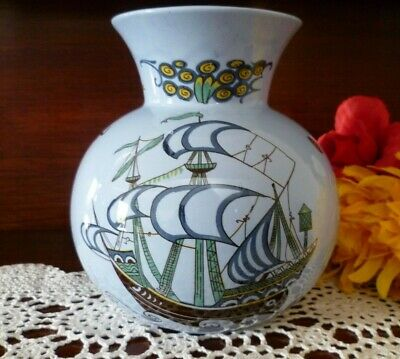 LARGE Vintage RARE PATERN FALCON WARE VASE SHIPS Made in England Great Condition