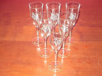 New Set Of Six Perrier-Jouet Champagne Flutes Crystal New