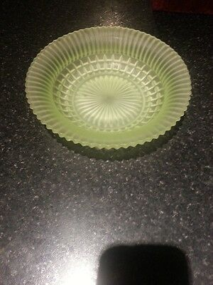 1930's Art Deco Green frosted Uranium Glass fruit Bowl- Sowerby