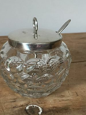 Vintage Silver Plated - Epns  Lidded Glass Condiment Bowl With Spoon
