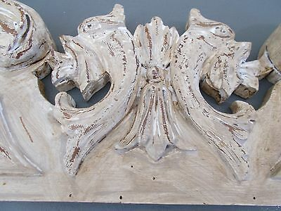 Antique French Pediment Carved Wooden Architectural Salvage Interior Design FAB