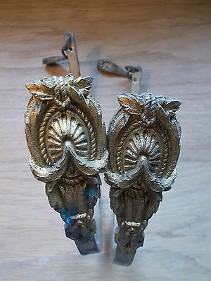 ANTIQUE FRENCH CURTAIN TIEBACK HOOKS SWIVEL ARTICULATED ORMULO GILT BRONZE 2pcs