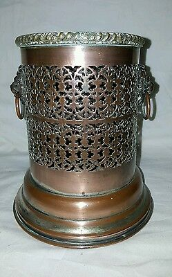 Antique Silver On Copper Pierced Pot