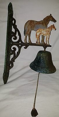 Antique Cast Iron Wall Hanging Bell With Horse And Foal
