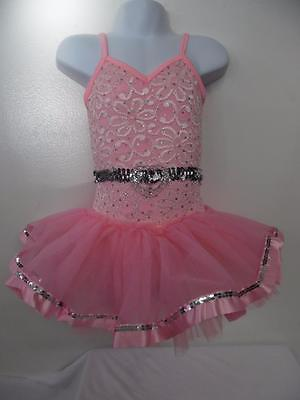 Dance Costume Small Child Pink Lace 2-in-1 Ballet Tap Solo Competition