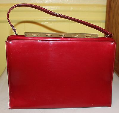 Vintage Candy Apple Red Patent Leather Theodor California Handbag Purse