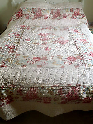 Cleaned Antique Reversible Quilt Bedspread French Birds Cabbage Rose Durham 1900