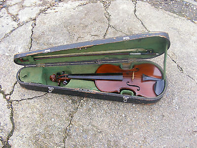 Antique Vintage German? French? Italian? 4/4 Full Size Violin Bow & Wooden Case
