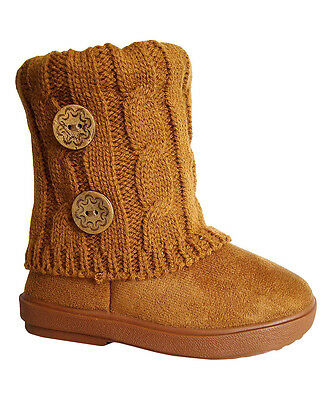 Lot of 18 Pairs New Girls Boot Fashion 2 Buttons Knitting Boot-285A camel