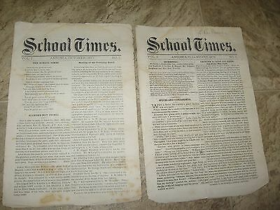 2- Issue Covers front & Backside: THE SCHOOL TIMES, Ansonia Ohio 1877-1878