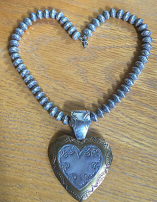 SET: Navajo Pawn Sterling Bench Beads  and Joan Slifka Heart with Sterling Bail