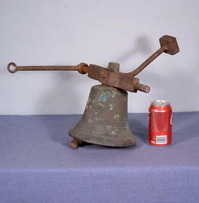 *Antique French Bronze School Bell with Iron Arms