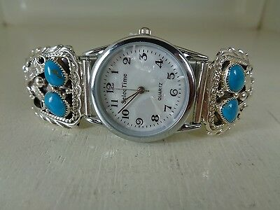 Eagle Watch Tips .925 Sterling With Watch & Turquoise Signed By Running Bear