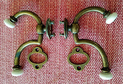 2 Vintage Keeler Brass CO. Wall Mount Double Hooks w Porcelain Knobs Made in USA