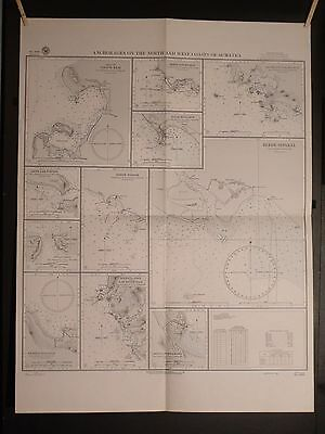 WWII Era Chart 3100 Anchorages On The North and West Coasts Of Sumatra