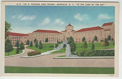 Vintage Linen Lee H Edwards High School Asheville NC Postcard FREE Ship