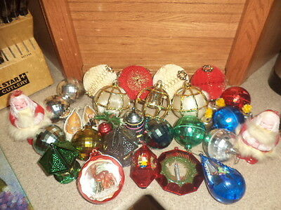 Vintage Lot of 30 Hard Plastic-Paper-Christmas Ornaments 1940's-50's