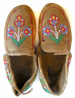 Antique Hand Made & Hand Beaded, Leather Moccasins