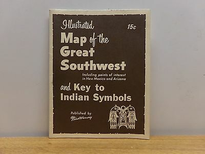(Vintage 1958) Fred Harvey Map Of The Great Southwest & Key To Indian Symbols