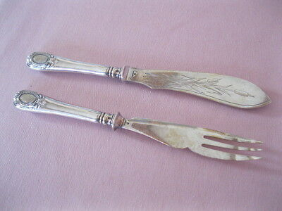 Old 2 Pc. SILVER SERVING SET Engraved Blade CHRISTOFLE Hallmarked SILVERPLATE