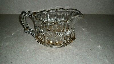 Beautiful Clear Glass Creamer Pitcher with Gold Trim Scallope Edges