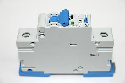 Lot of 9 Altech 1BU15R 15A DIN Rail Single Pole 277VAC Circuit Breakers