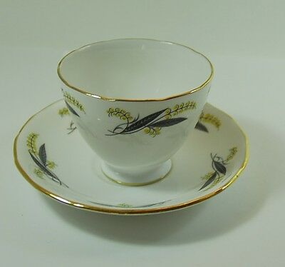 Vintage Royal Vale Laburnum Cup and Saucer Bone China 1962