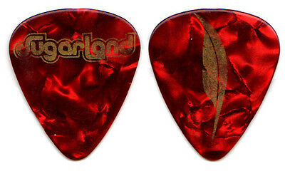 SUGARLAND Guitar Pick : 2009 Tour - gold red pearl feather