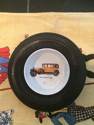 VINTAGE DUNLOP TYRE ASHTRAY China Insert With Rolls Royce 1921