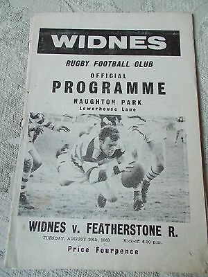 20.8.63 Widnes v Featherstone Rovers programme