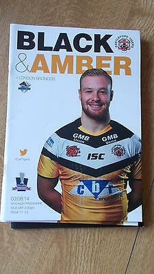 3.8.14 Castleford Tigers v London Broncos programme