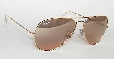 Ray Ban Rb 3025 001/3E Gold Brown Pink Mirror Aviator Sunglasses Large