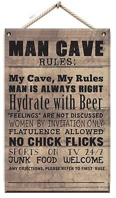 Wooden Hanging Plaque Man Cave Rules