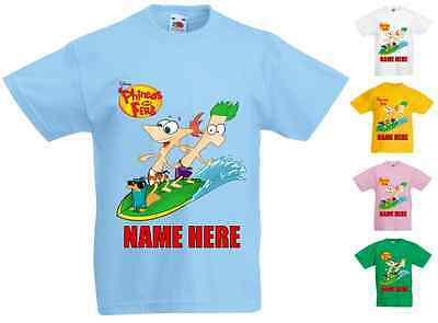 Childrens Kids Personalised Printed T-Shirt Various Colours - Phineas & Ferb