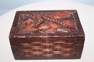 Vintage Hand Carved Wooden Jewelry Trinket Box