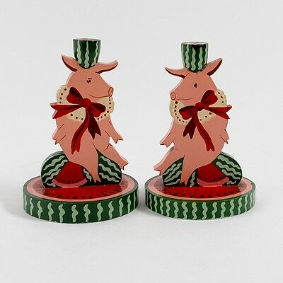 """Vintage Hand-Painted Wooden """"Christmas Pig Pair"""" Candleholders"""