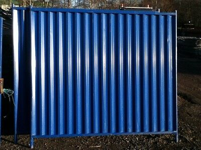 Used Blue Solid Steel Temporary Site Fence Panels 2.000mtr High x 2.150mtr Long