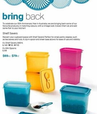 Tupperware Shelf Savers Set Of 6 Containers With Spoons Brand New $69